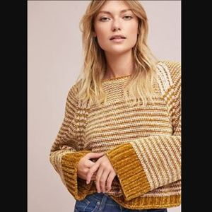 {Anthro} Moth Chenille Stripe Sweater, Small
